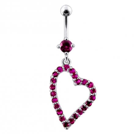 Fancy Heart Dangling Navel Ring