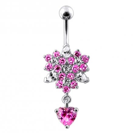 Flower Bunch with Heart Dangling  Belly Ring