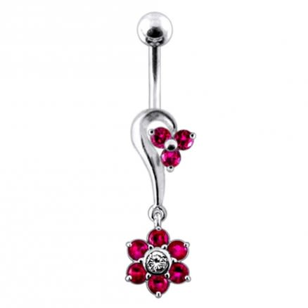 Half Heart and Flower Dangling  Belly Ring