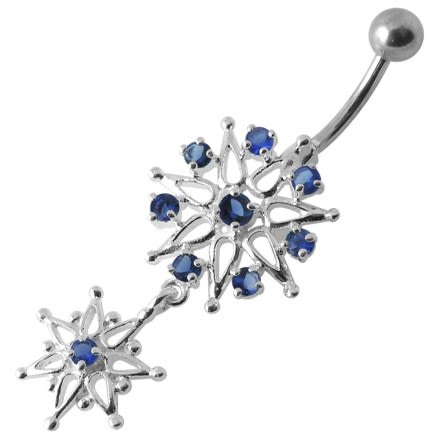 925 Sterling silver Jeweled Flower Dangling Belly Ring