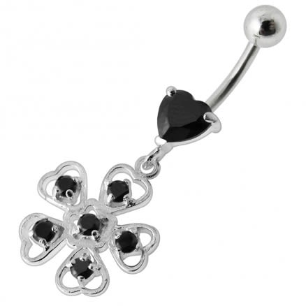 Heart with Hearty Flower  Dangling  Belly Ring