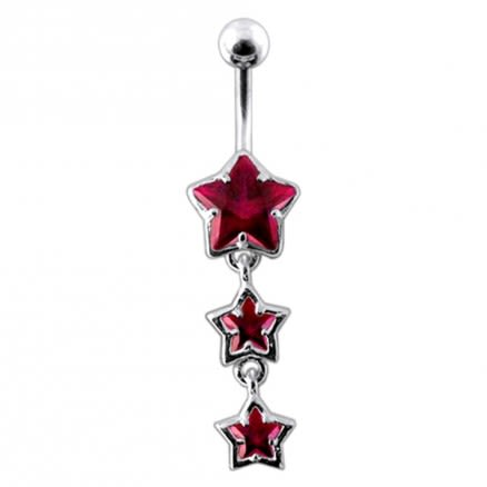 Multi Star Dangling Banana Navel Ring