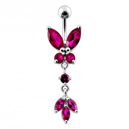 Butterfly 925 Sterling silver Dangling Belly Ring