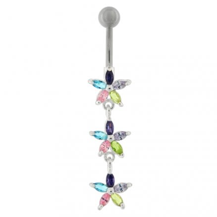 Triple Flower Dangling  Belly Ring