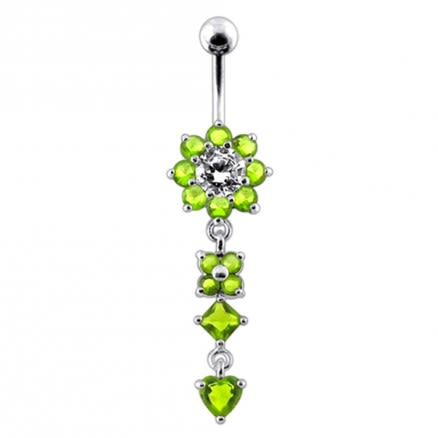 Silver Flower Jeweled Dangling 316L SS Curved Belly Ring PBM1130