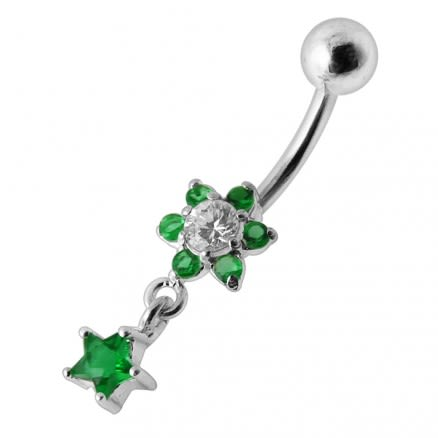 Flower Star Silver Jeweled Dangling SS Belly Button Ring