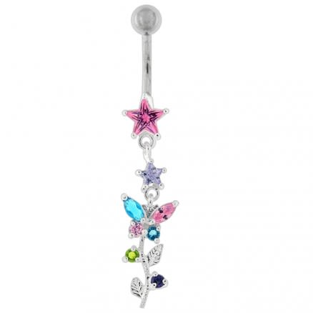 Multi Gems Star Banana Dangling Belly Ring