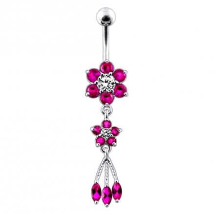 Pink Jeweled Flower Dangling SS Curved Bar Belly Ring