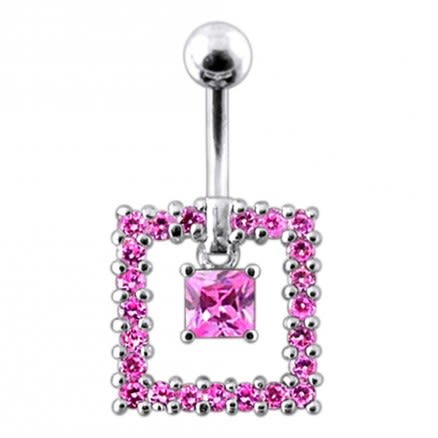 Square Cut Dangling  Belly Ring