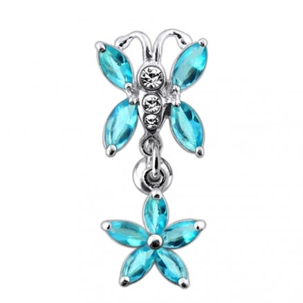 Butterfly Flower Dangling Belly Ring