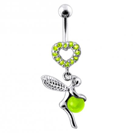 Angel Dangling Jeweled Heart Navel Ring