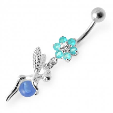 Angel Dangling Pink Stone Flower Navel Ring
