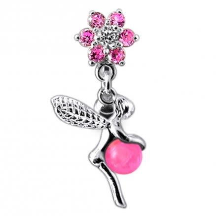 Angel Dangling Jeweled Reverse Belly Ring