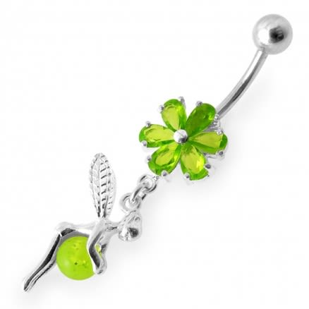 Angel Dangling Flower SS Curved Bar Belly Ring
