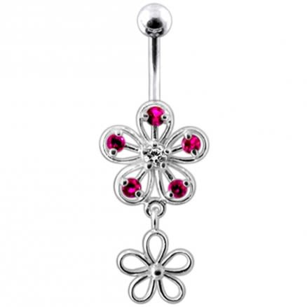 Jeweled Dangling Flower Navel Belly Ring