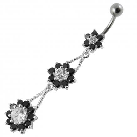 Silver Red CZ Jeweled Dangling Flower Belly Ring