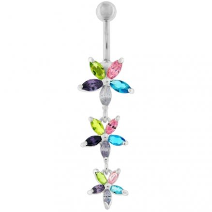 Pink Jeweled 3 Dangling Flower SS Bar Navel Belly Ring