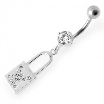 Multi Stone Studded Jeweled Dangling Belly Ring