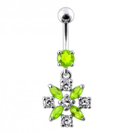 Silver Flower Jeweled Dangling Navel Belly Ring