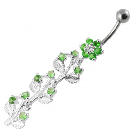Jeweled Tree Silver Dangling SS Bar Banana Navel Body Jewelry Belly Ring
