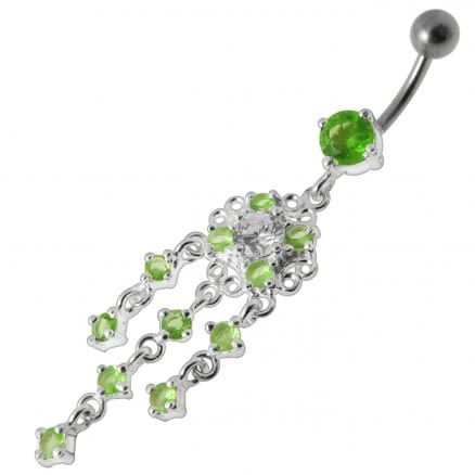 Dangling Fancy Jeweled SS Bar Navel Ring