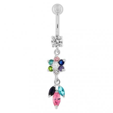 Multi CZ Jeweled Dangling Navel Banana Bar Belly Ring