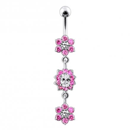 Multi Green Jeweled Dangling Body Jewelry Belly Ring
