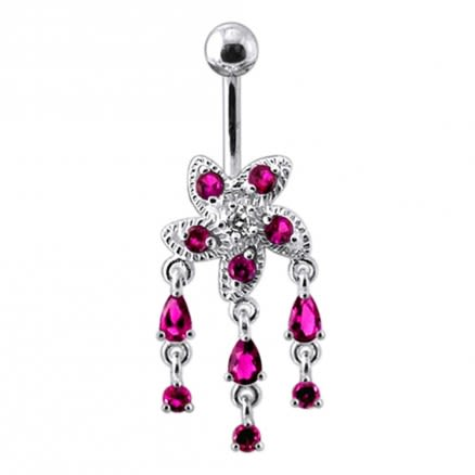 Fancy Silver Jeweled Dangling Belly Button Ring