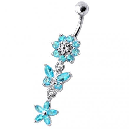 Dangling Jeweled Butterfly Flower SS Bar Navel Ring
