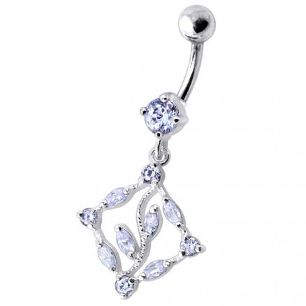Dangling Jeweled Designer Belly Ring