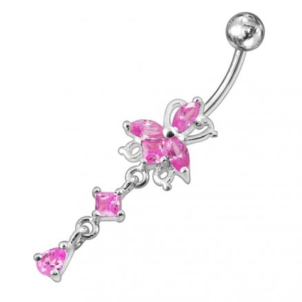 Fancy Flower Dangling Jeweled Navel Ring