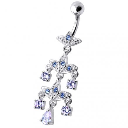 925 Sterling Silver Jeweled Goofy Dangling SS Curved Navel Ring