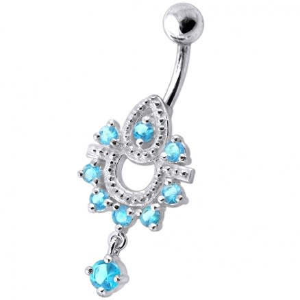 Dangling Frog Jeweled SS Curved Bar Belly Ring Body Jewelry
