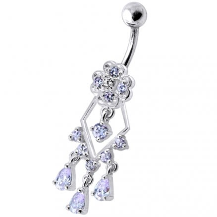 925 Sterling Silver Dangling Jeweled Designer Banana Bar Belly Ring