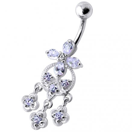 Fancy Silver Dangling Pink Stone studded SS Bar Navel Ring