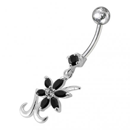 Silver Dangling Pink Jeweled Flower SS Bar Belly Ring Body Jewelry