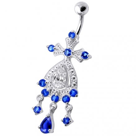 Dangling Jeweled SS Bar Navel Ring Body Jewelry