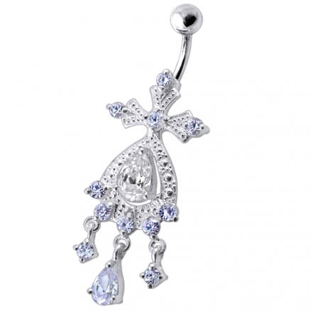 Silver White Chandeliers Dangling Jeweled Curved Bar Belly Ring