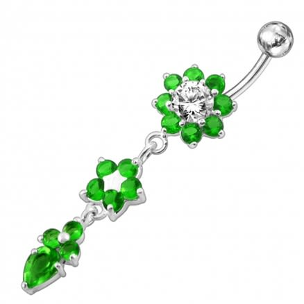 Jeweled Dangling Silver Flower With SS Curved Bar Navel Ring