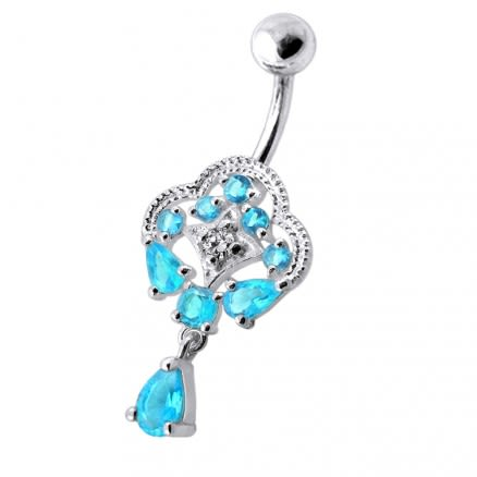 Fancy Royal Dangling Multi Jeweled Navel Ring