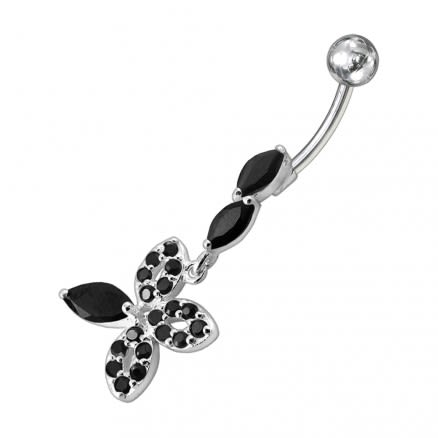 Fancy Silver Dangling Jeweled SS Curved Belly Ring