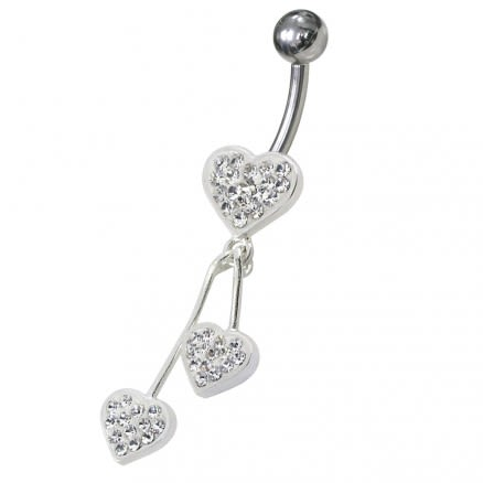 Jeweled Trible Heart Dangling Belly Ring