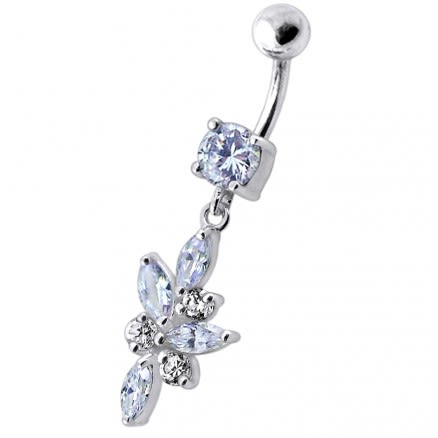 Fancy Dangling 925 Sterling Silver Jeweled Navel Ring Body Jewelry