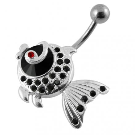 Jeweled Fish Dangling Belly Ring