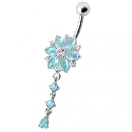 Flower Dangling Jeweled Navel Ring