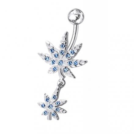 Fancy Jeweled Double Marijuana leaf Dangling Belly RingFancy Jeweled Double Marijuana leaf Dangling Belly Ring