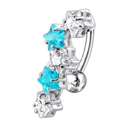 Fancy Jeweled Dangling 5 Stars Reverse Belly Ring