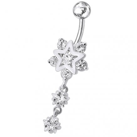 Fancy Jeweled Star Dangling Belly Ring