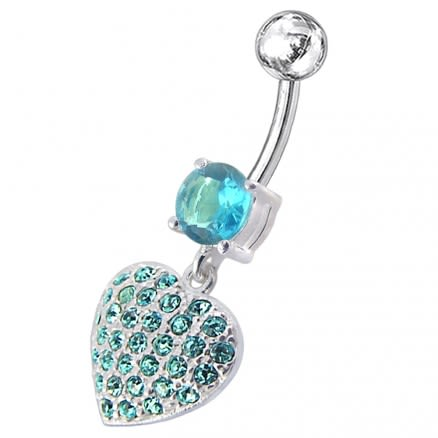 Fancy Green Jeweled Heart Dangling SS Bar Belly Ring