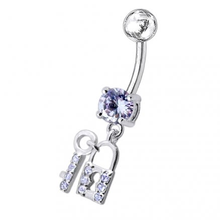 "Fancy Jeweled ""Lock with the Key"" Dangling Belly Ring"